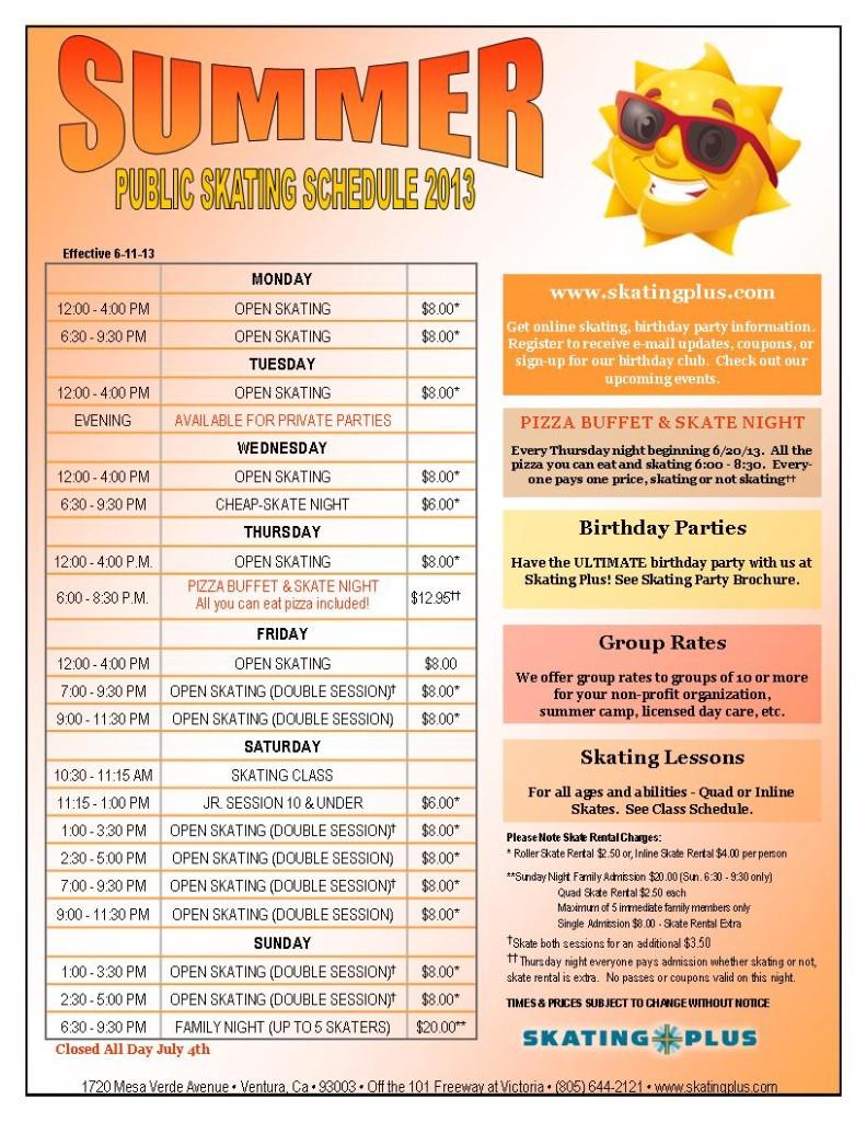 Summer Skating Schedule 2013 Web